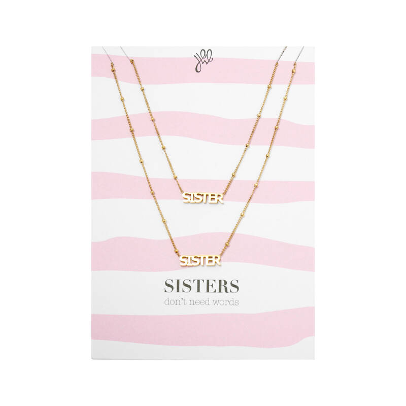 'SISTERS DON'T NEED WORDS' POSTCARD NECKLACE GOLD