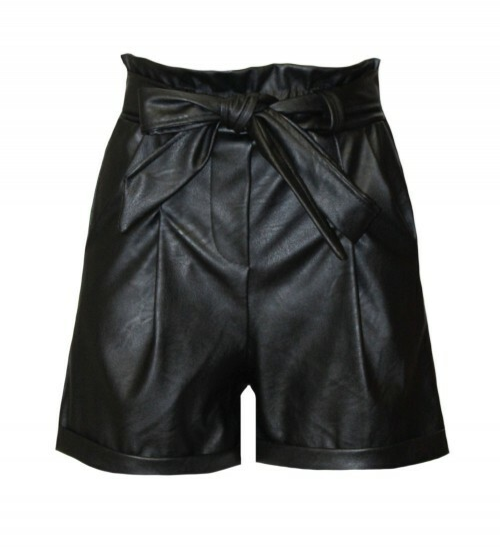 LIZZY LEATHER SHORT BLACK