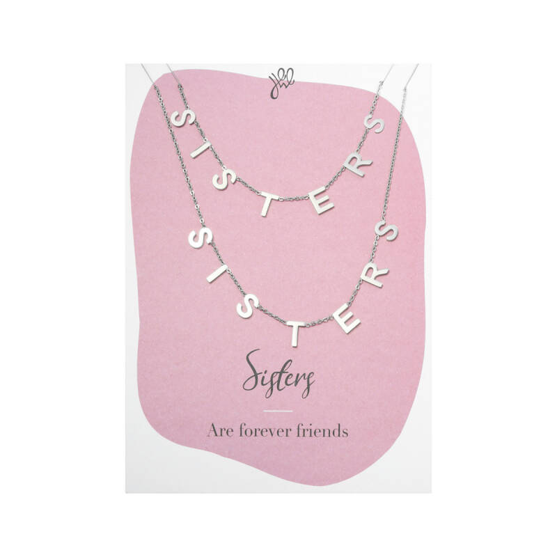 'SISTERS ARE FOREVER FRIENDS' POSTCARD NECKLACE SILVER