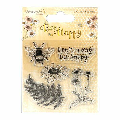 bee happy clear stamp
