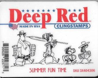deep red stamps summer fun time