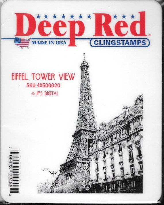 deep red stamps eiffel tower view