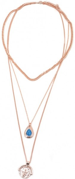 Ketting Layered with coin - rosé goud
