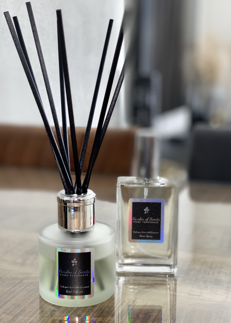 Roomspray & Reed diffuser set- frosted glass