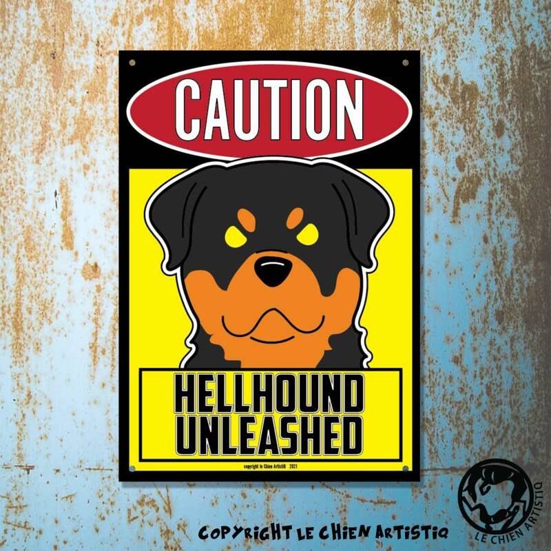 Rottweiler ! waakbord ANGRY DOGS geel !