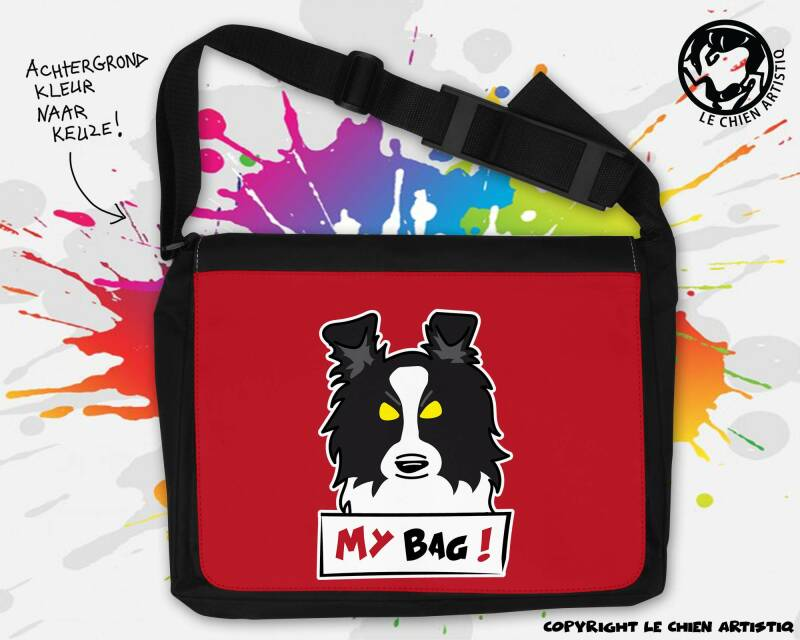 Border Collie ! ANGRY DOGS schoudertas GROOT !