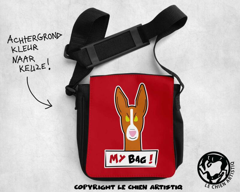 Podenco Ibicenco gladharig ! ANGRY DOGS schoudertas !