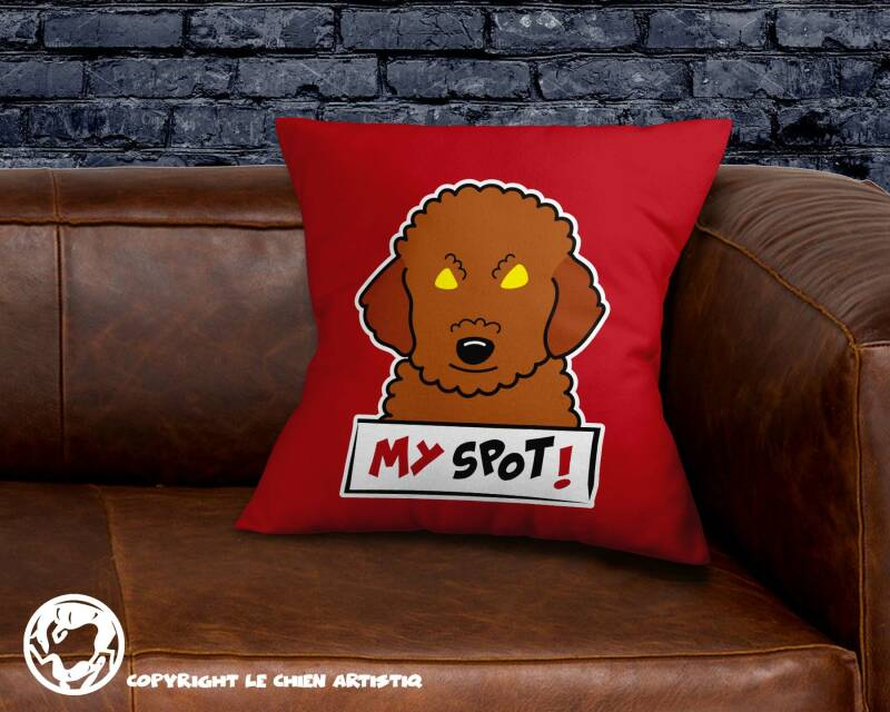 Poedel abrikoos  ! Angry Dogs kussen !