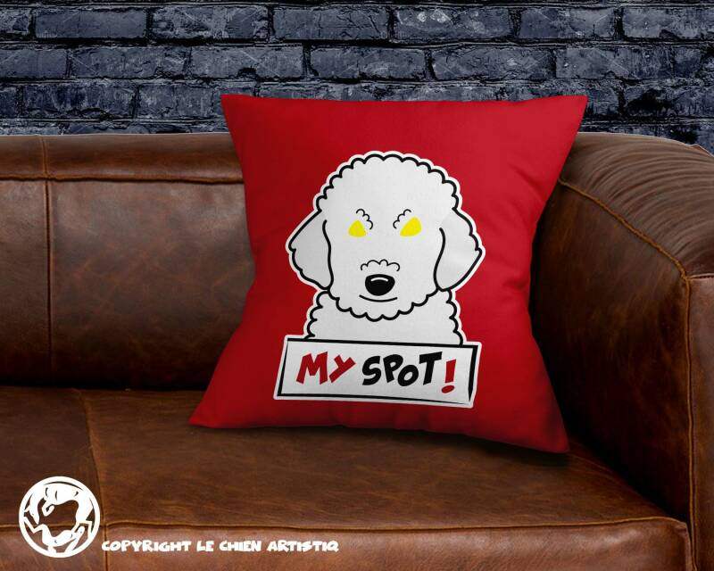 Poedel wit ! Angry Dogs kussen !