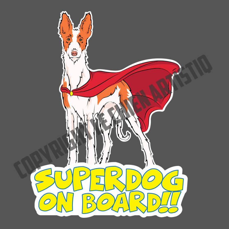 Podenco Ibicenco ruwharig SUPERDOG ON BOARD vinyl sticker!