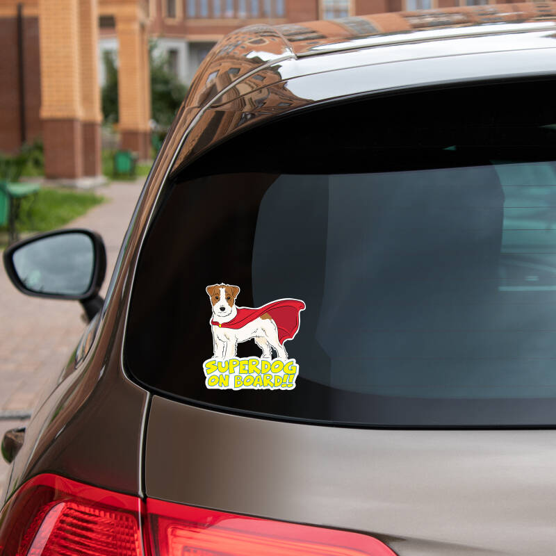 Jack Russell Terrier ruwharig SUPERDOG ON BOARD vinyl sticker!