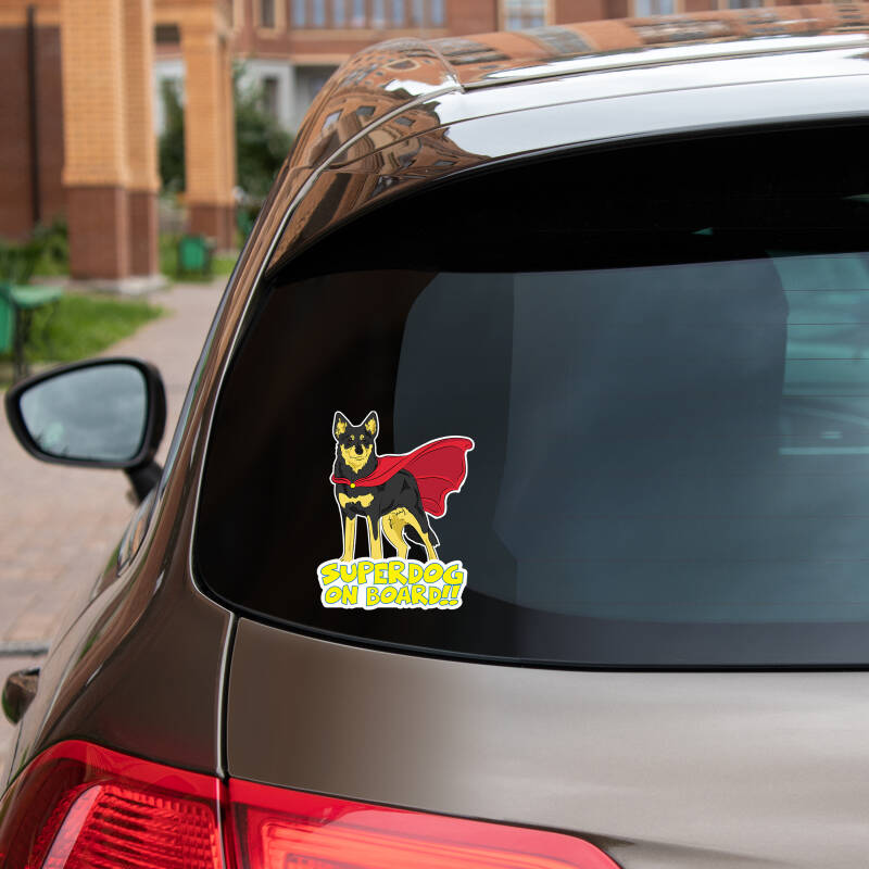 Lapinporokoira SUPERDOG ON BOARD vinyl sticker!