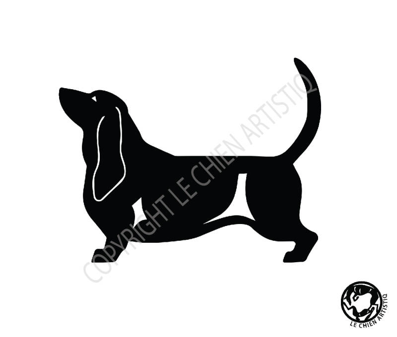 Bassethound ! vinyl sticker