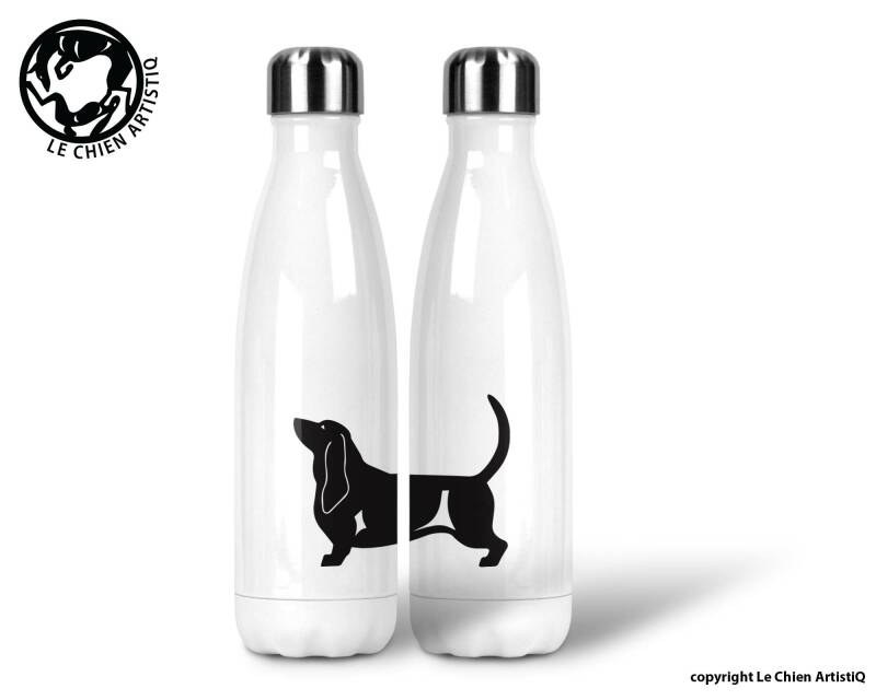 Bassethound ! silhouet ! thermosfles 500ml