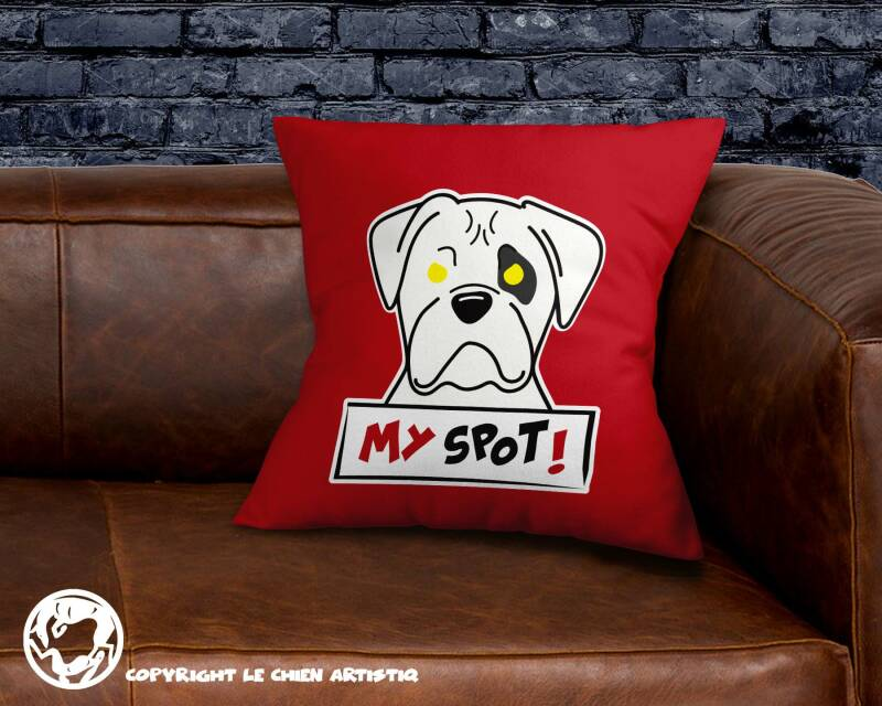 Boxer wit  ! Angry Dogs kussen !