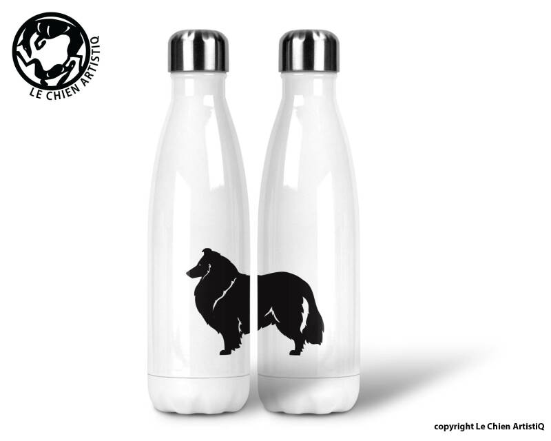 Schotse Herdershond langharig / Collie ! silhouet ! thermosfles 500ml