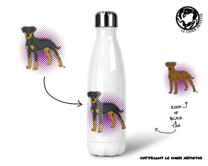 Duitse Pinscher ! COMIC ! thermosfles 500ml ( naam optie ! )