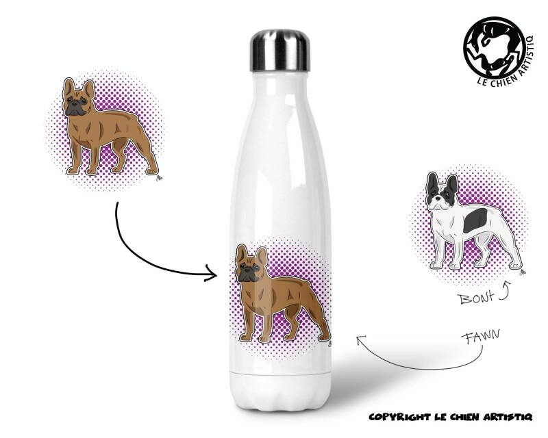 Franse Bulldog ! COMIC ! thermosfles 500ml ( naam optie ! )