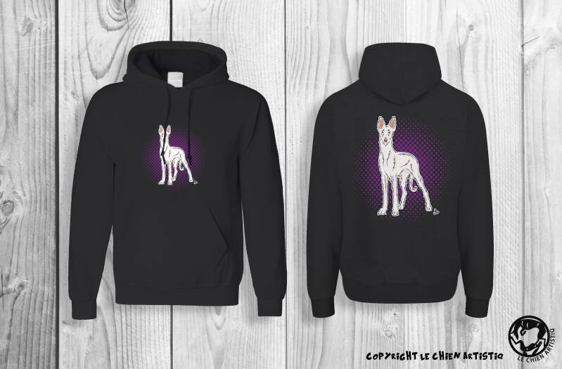 Podenco Ibicenco ruwharig wit ! COMIC style Hoodie !