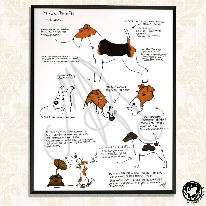 "Fox Terrier print ""Different View"""
