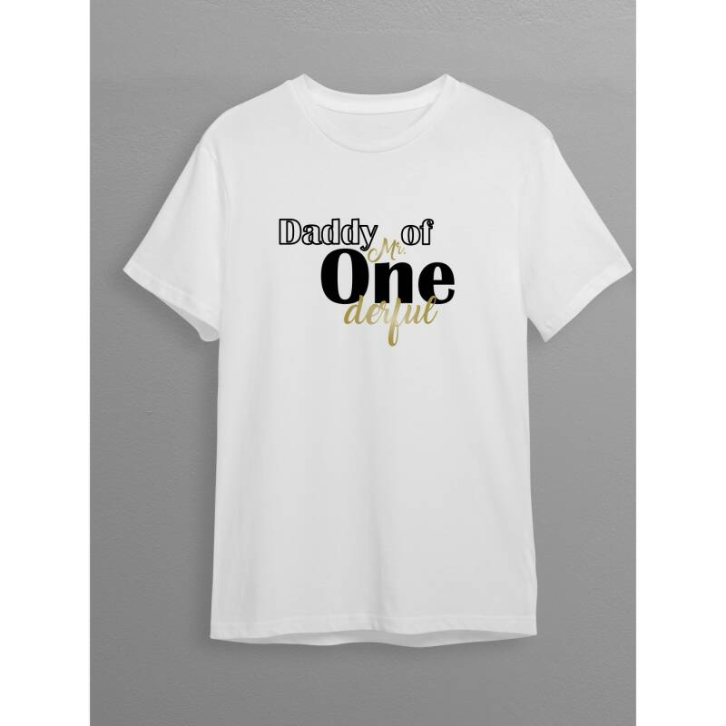 T-Shirt - Daddy of Mr One derful - wit