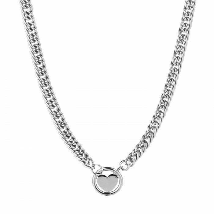 RVS ketting chain hart rond - zilver