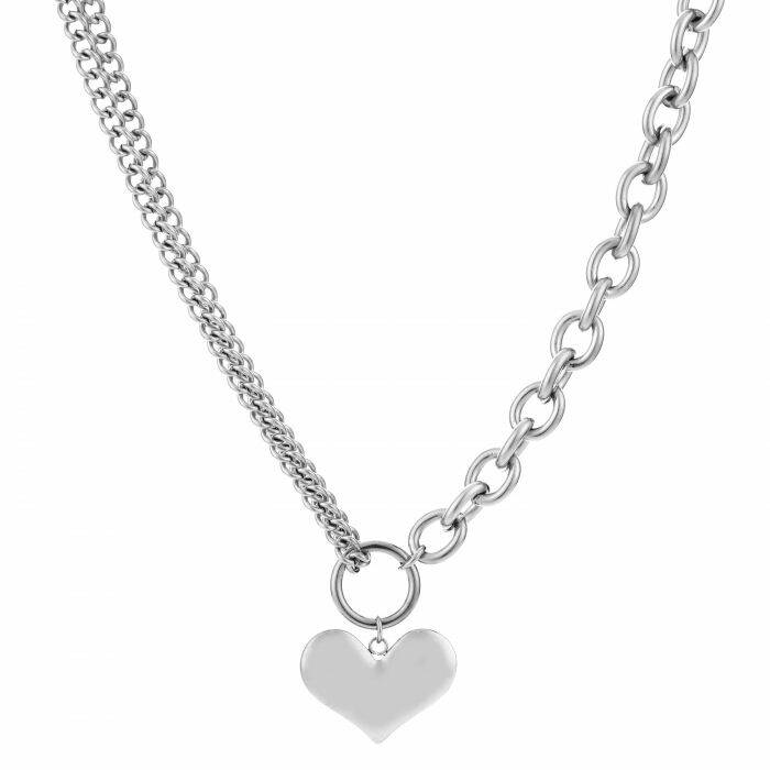 RVS Ketting hart chains - zilver