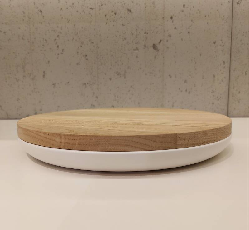Wow VVD-pottery large white ø30 / oak lid 3022