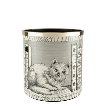 Paper basket Cat with Libri black on ivory
