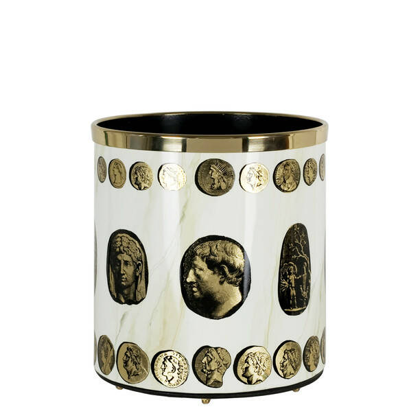 Paper basket Cammei gold-marble ivory