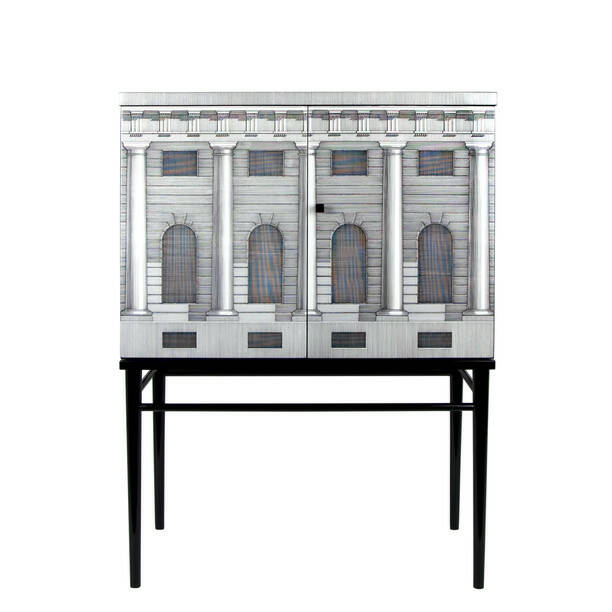 Fornasetti  raised small sideboard Architettura black-white