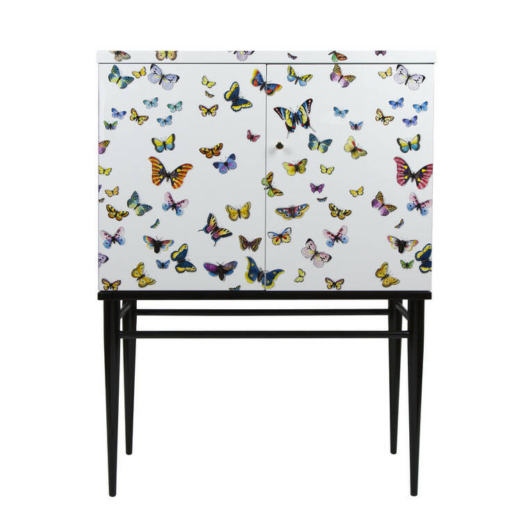 Fornasetti  raised small sideboard Farfalle colour-white
