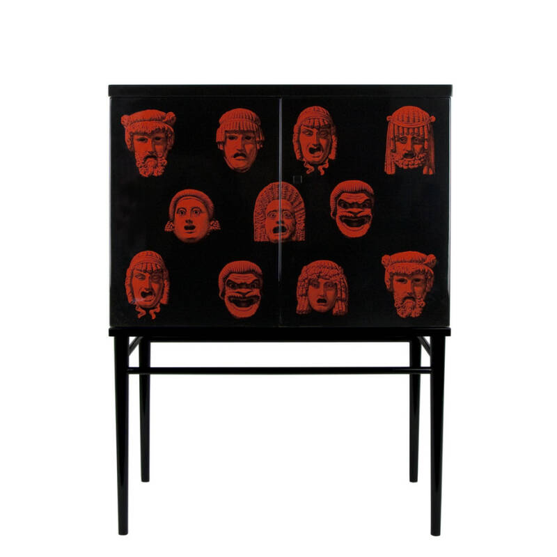 Fornasetti  raised small sideboard Maschere black-red