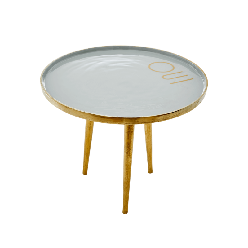small round metal table - blue