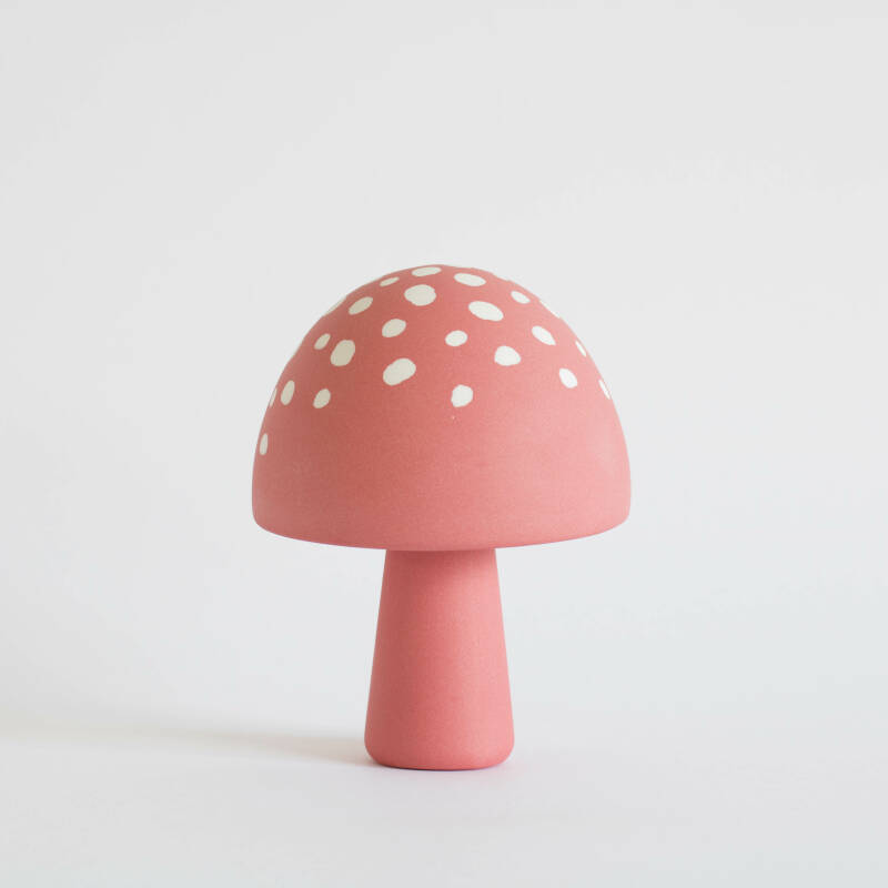 Mushroom framboise with white dots