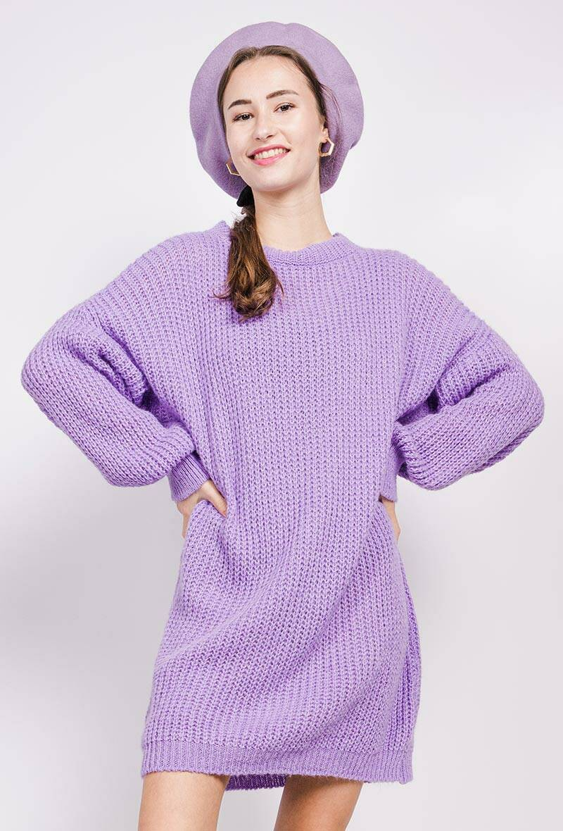 Knitted long sweater (paars)