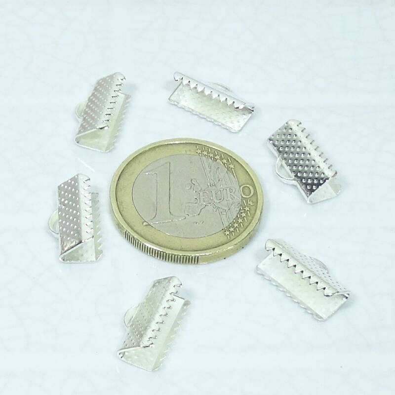 80 Enganches Plateados 13x7mm  T368