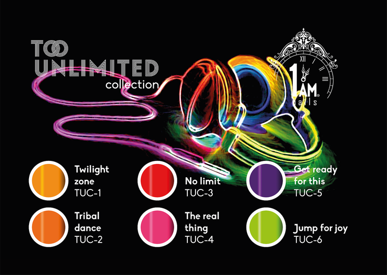 1AM MUSIC colorgel Too-Unlimited collection + 2 gratis glitters