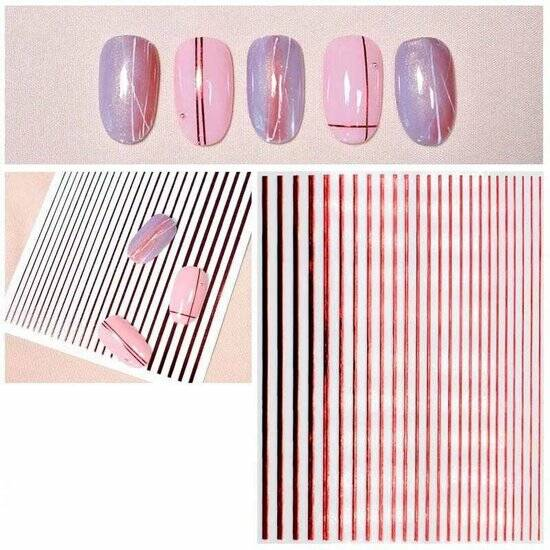 1AM Nails stripes - red