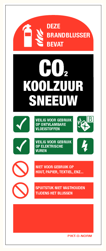 Co2 brandblusser instructie bord