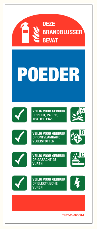 Instructie poederblusser bord (80X200mm)