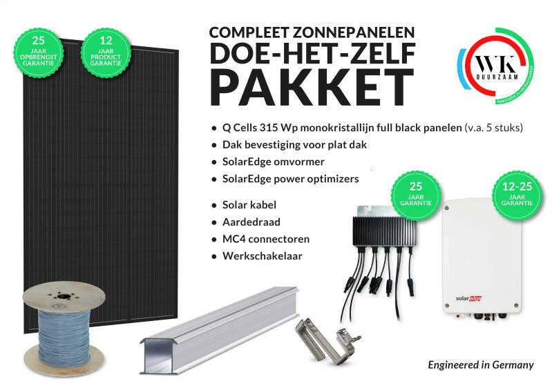16 panelen Q Cells 315 Wp Full Black monokristallijn