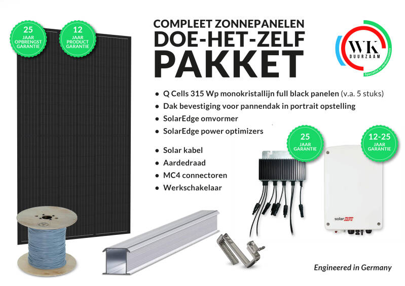 13 panelen Q Cells 315 Wp Full Black monokristallijn