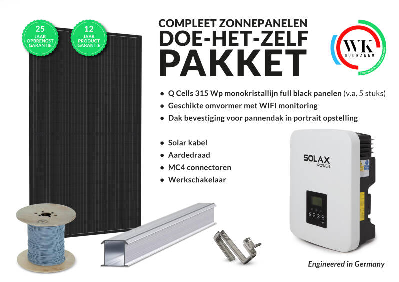 8 panelen Q Cells 315 Wp Full Black monokristallijn