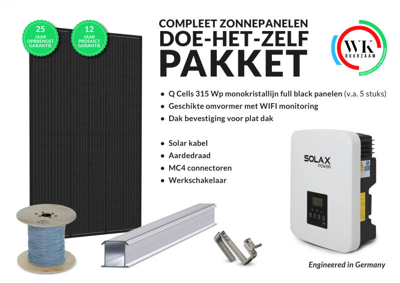7 panelen Q Cells 320 Wp Full Black monokristallijn