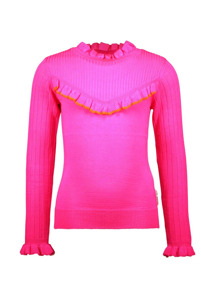 Knitted pullover with v shaped ruffle