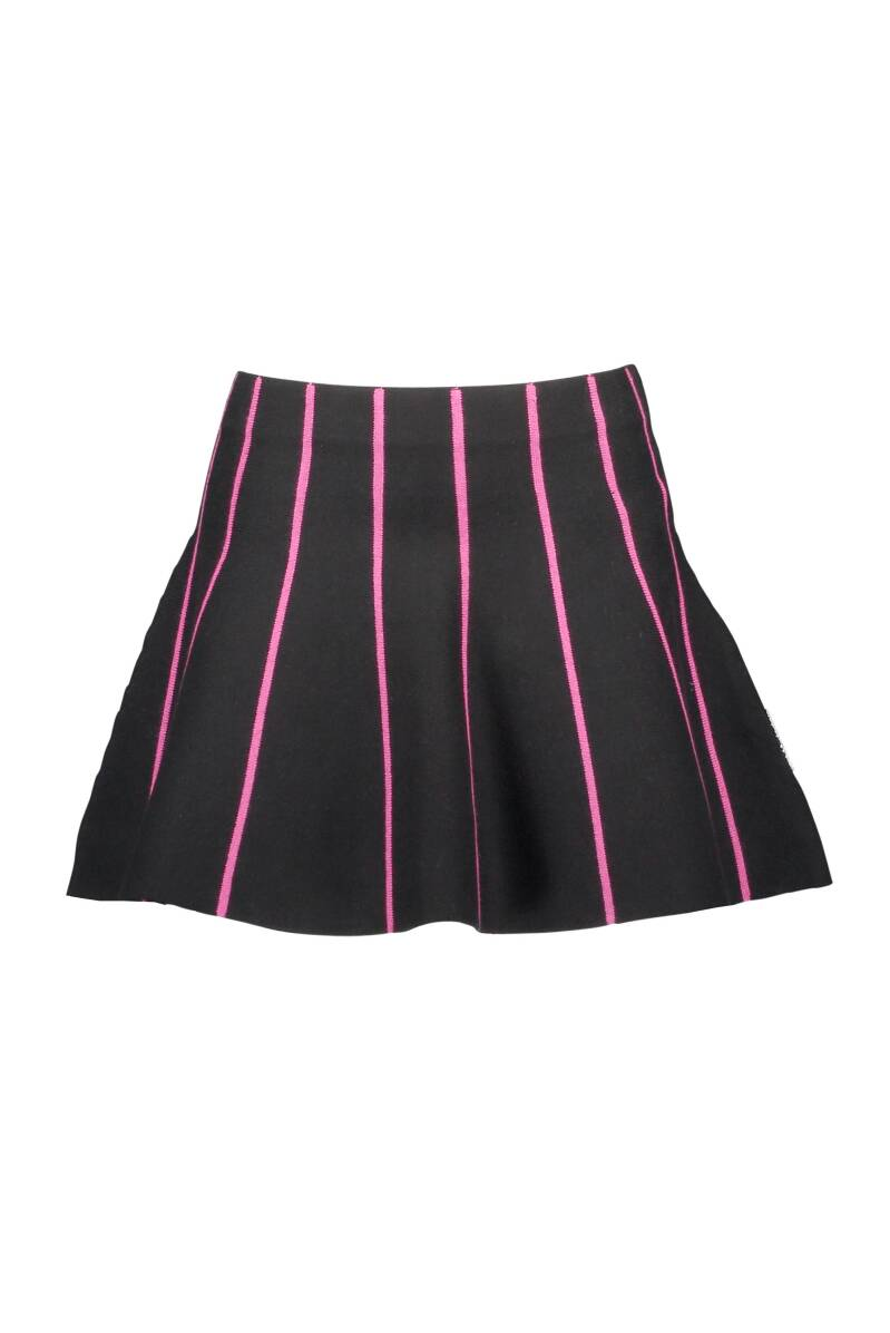 Knitted skirt with multicolored vertical stripes