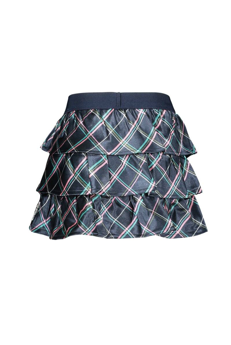 Layered skirt with check fabric used stanted