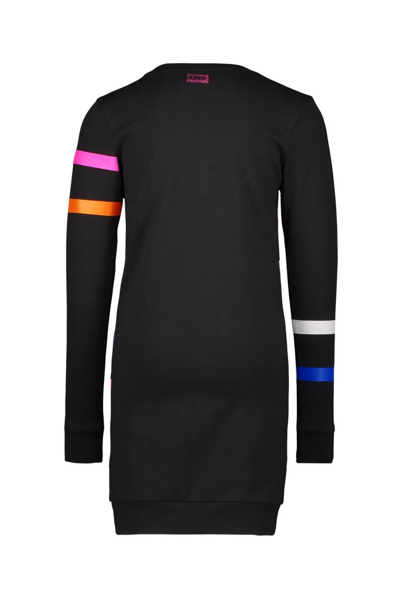 sweat dress with printed stipes on body and sleeves