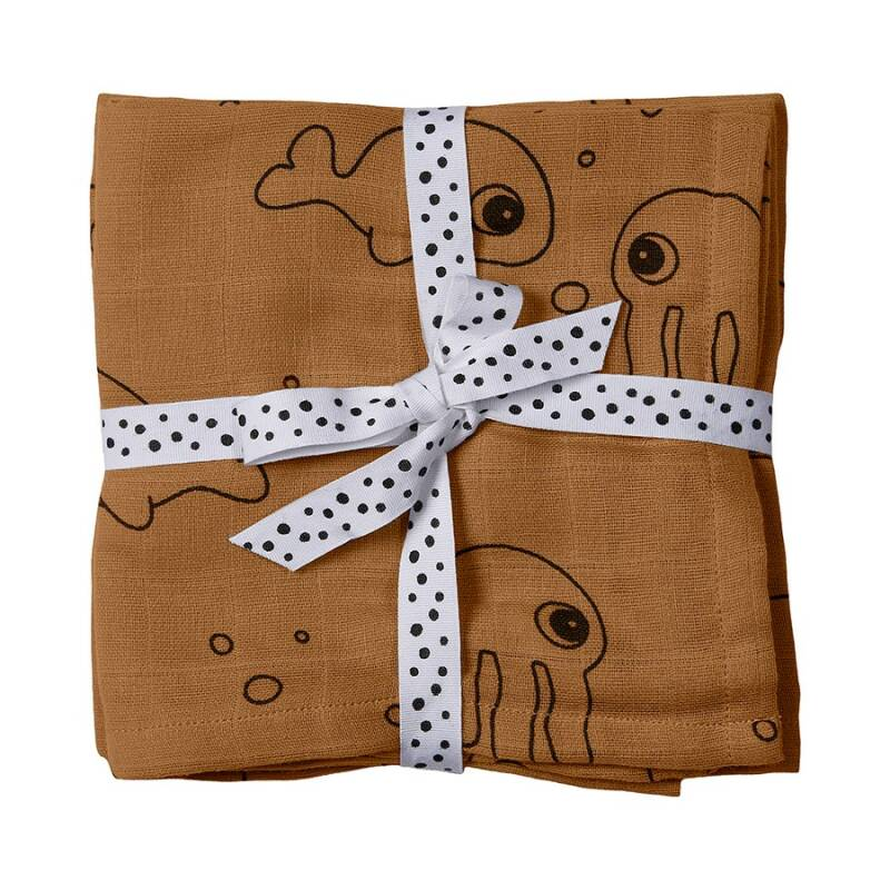 Done By Deer | 2-Pack Hydrofiele Doeken - Sea Friends Mustard